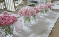 Pink Flowers Centerpieces  2 Wide Wallpaper