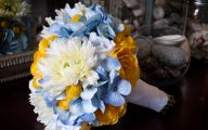 Blue Yellow Flowers Wedding  3 Background