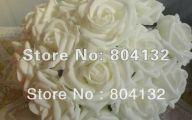 Cheap White Rose Artificial Flower Bush  6 Background