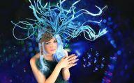 Blue Flowers Headdress 41 Wide Wallpaper