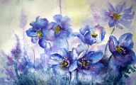 Blue Flowers Wall Painting 14 Cool Hd Wallpaper
