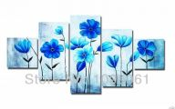 Blue Flowers Wall Painting 19 High Resolution Wallpaper