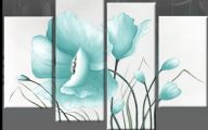 Blue Flowers Wall Painting 2 Free Wallpaper