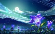 Blue Flowers Wall Painting 4 Hd Wallpaper