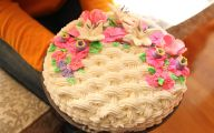 Pink Flowers Cake Decoration 2 Widescreen Wallpaper