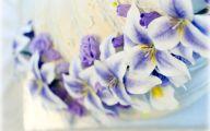 Purple Flowers Wedding Cake 2 Wide Wallpaper