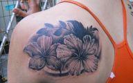 Tattoo Black Flowers 11 Background Wallpaper