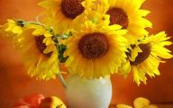 Yellow Flowers Vase 3 Wide Wallpaper