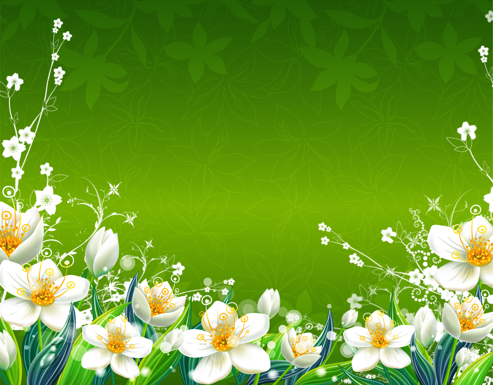Green flowers 176 cool hd wallpaper for Cool floral wallpaper