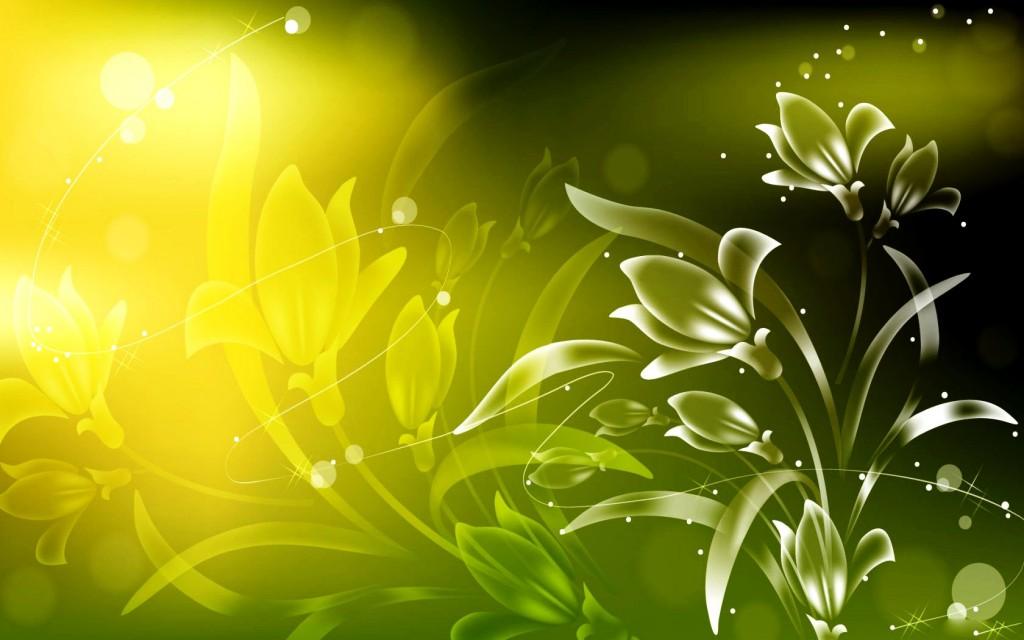 Green Flowers Art Free Wallpaper