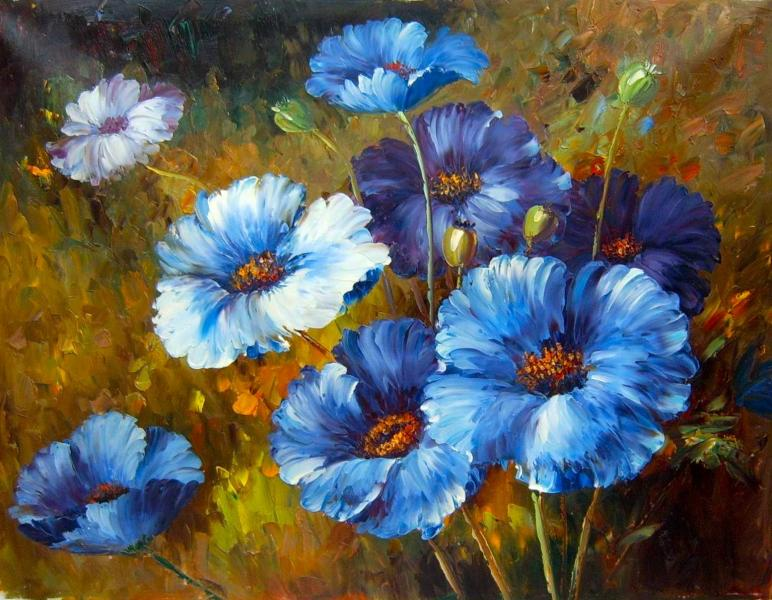 Blue flowers painting 13 desktop wallpaper for Floral acrylic paintings
