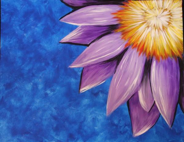 Purple Flowers Painting Widescreen Wallpaper