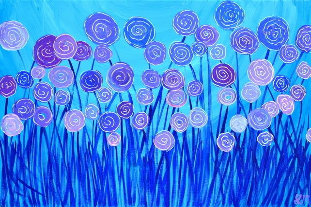 Purple Flowers Painting Wide Wallpaper