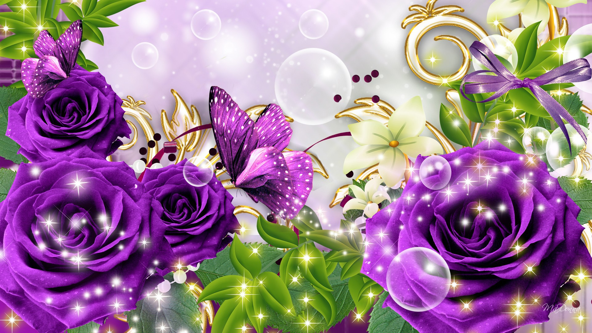 Purple Rose Wallpaper Desktop Wide