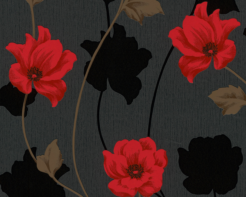 Black And Red Flower Wallpaper