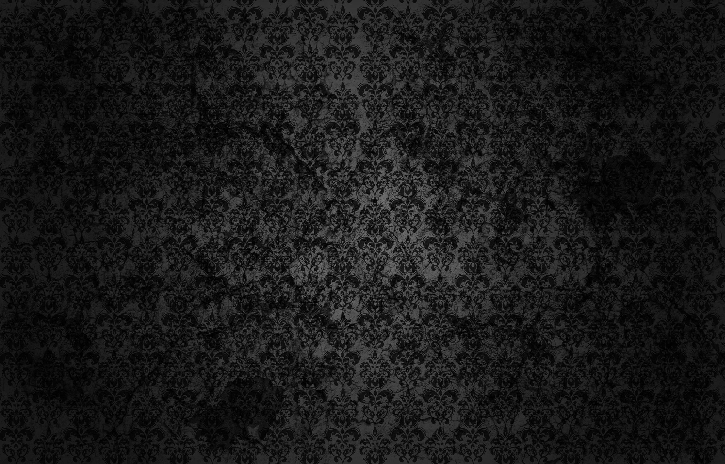 Black Flowers Wall Design 9 Desktop Background