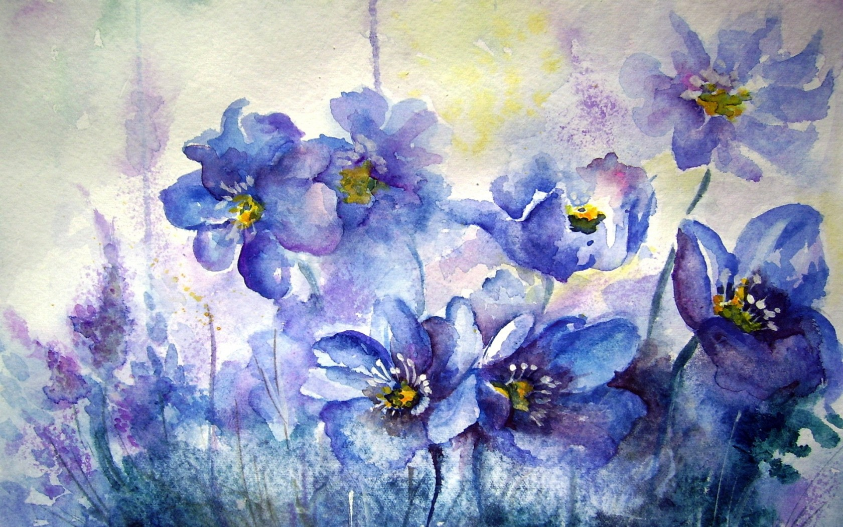 Wall Painting Ideas Hd Wallpapers : Blue flowers wall painting cool hd wallpaper