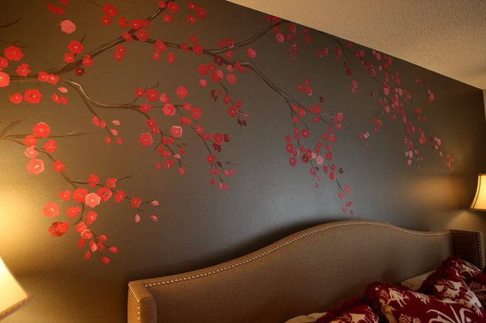 Flower wallpaper bedroom 46 background - Flower wall designs for a bedroom ...