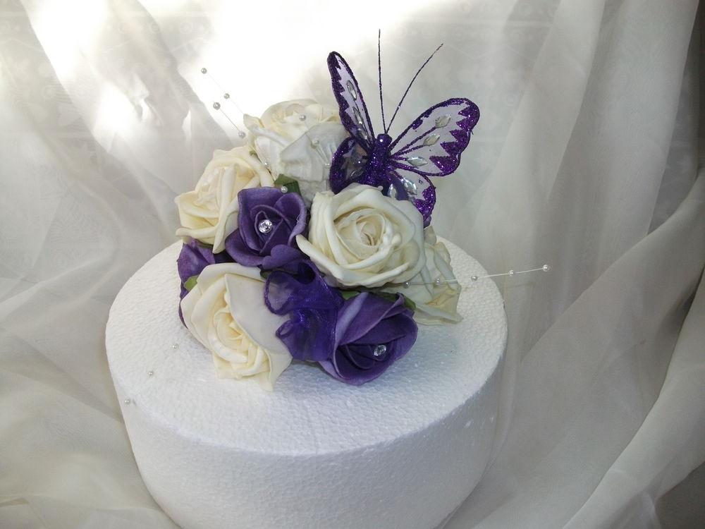Purple Flowers Wedding Cake Widescreen Wallpaper