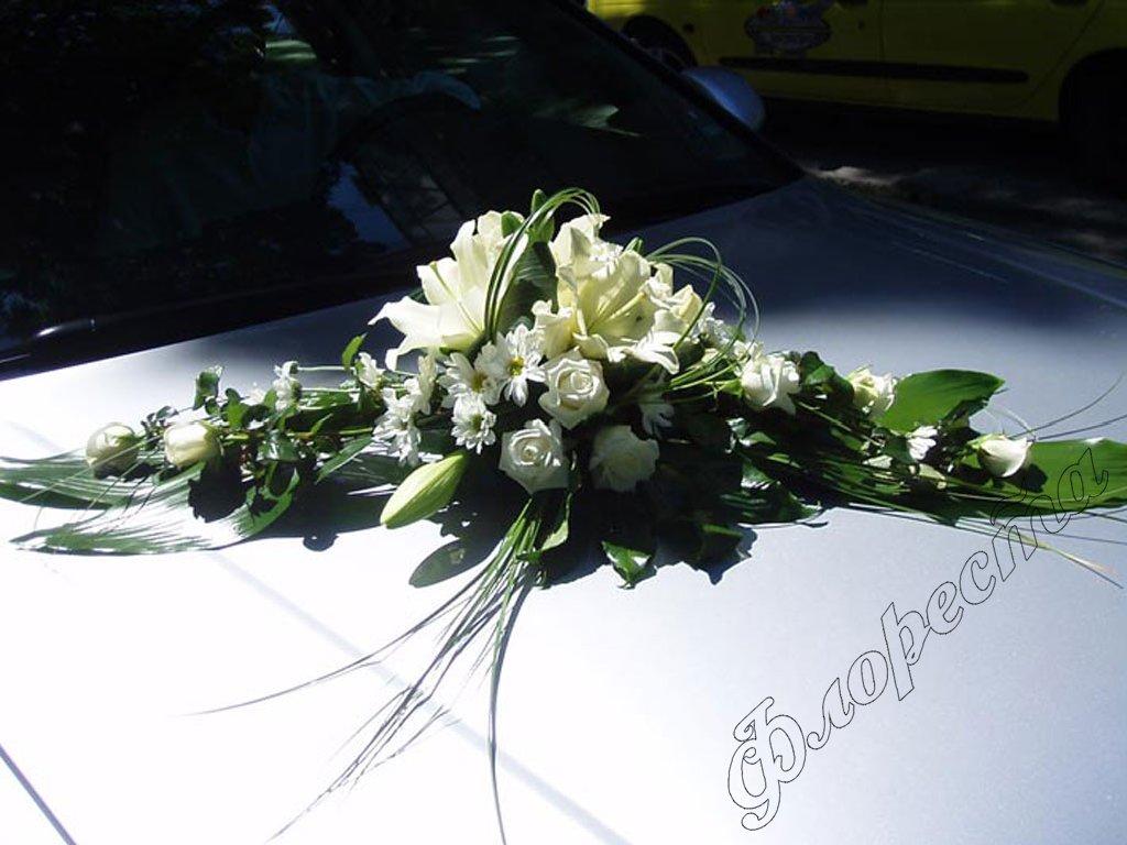 White Flowers Wedding Car Free Wallpaper