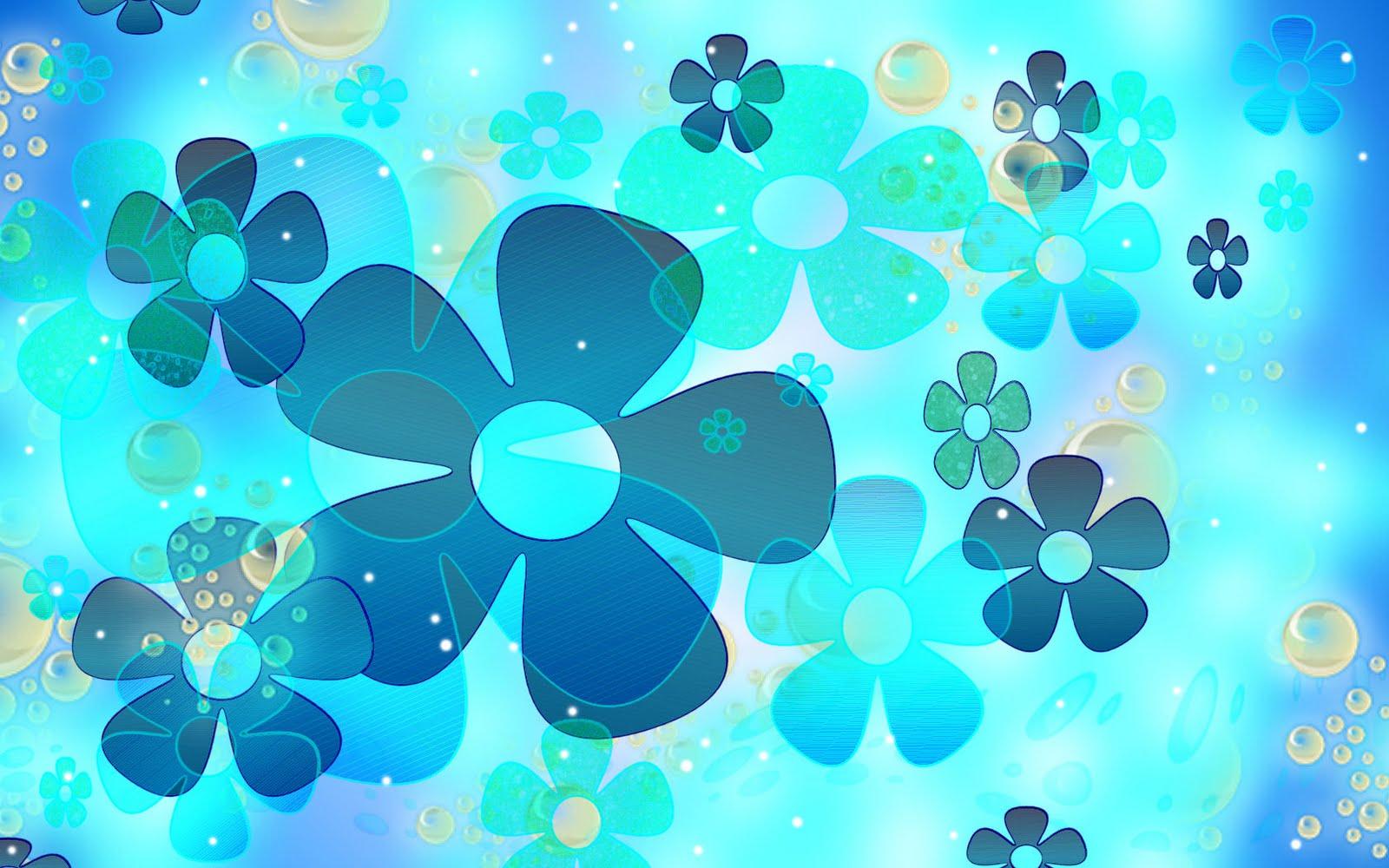 Vector Floral d Seamless rk Blue Background Wallpaper